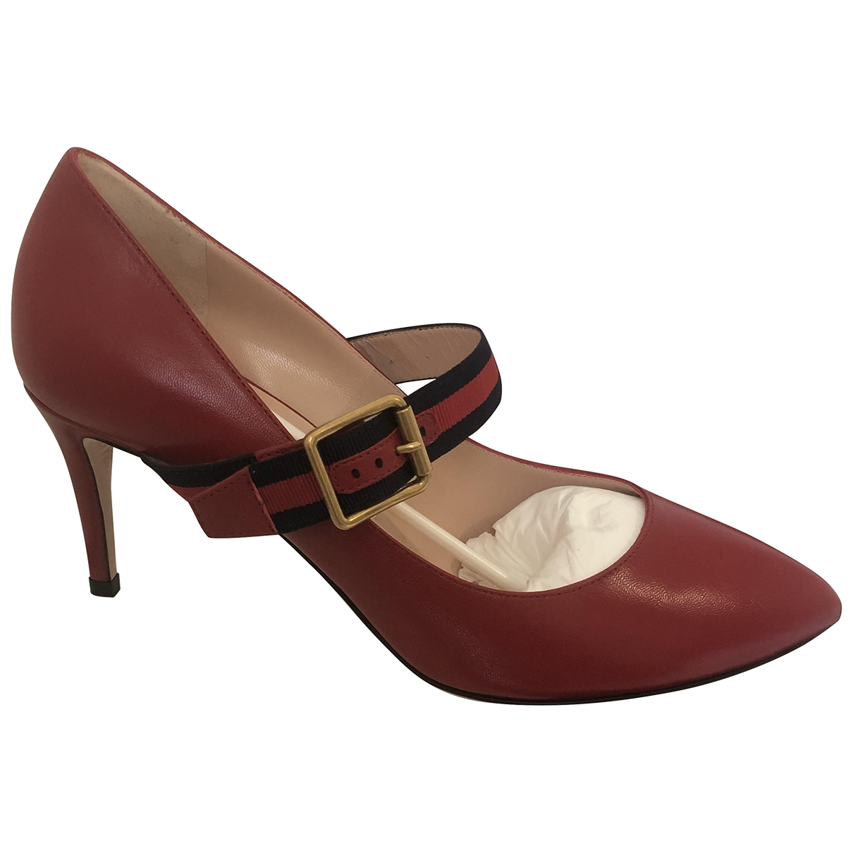 Gucci Sylvie Red Leather Heels for Women 38 IT