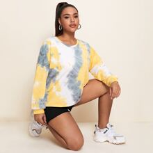 Plus Tie Dye Print Drop Shoulder Sweatshirt