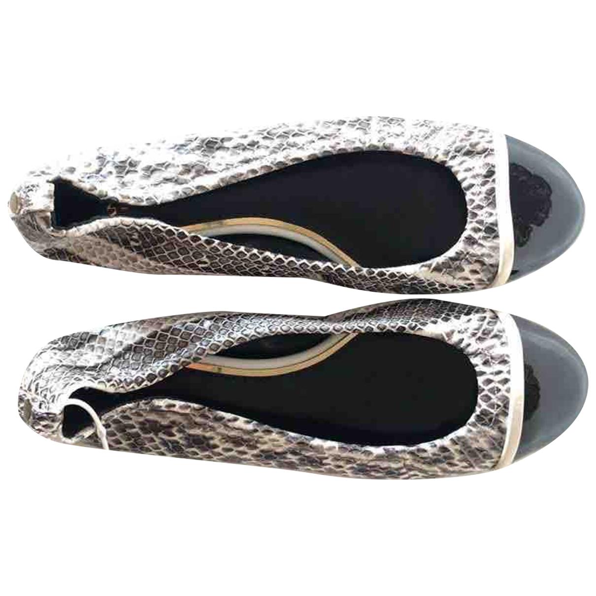 Lanvin - Ballerines   pour femme en serpent deau - marron