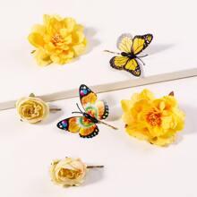 6pcs Blumen Decor Haarspange