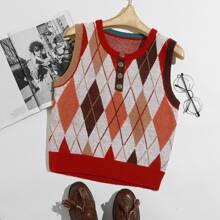 Pullover Weste mit Argyle Muster und Knopfen vorn