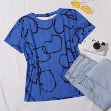 T-Shirt mit Herzen Muster