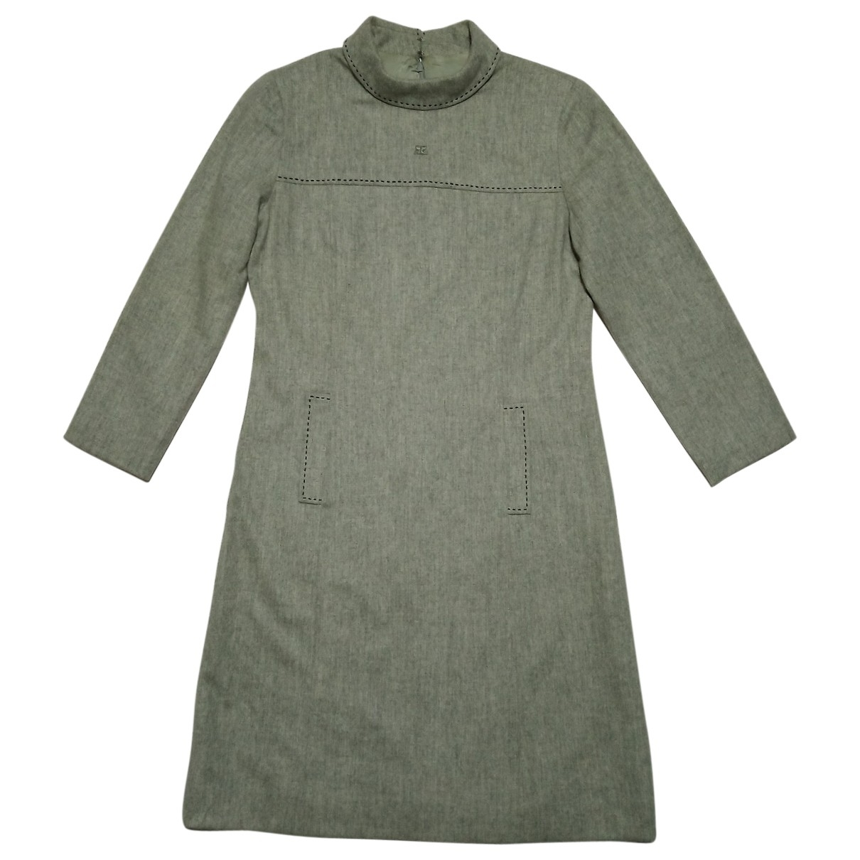 Courreges \N Kleid in  Khaki Wolle
