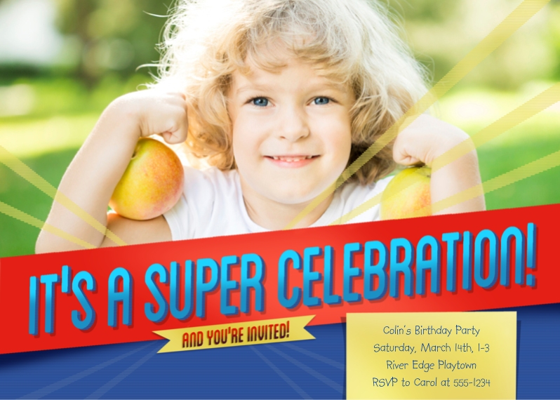 Kids Birthday Party Flat Glossy Photo Paper Cards with Envelopes, 5x7, Card & Stationery -Super Celebration