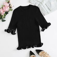 Exaggerated Ruffle Rib-knit Top