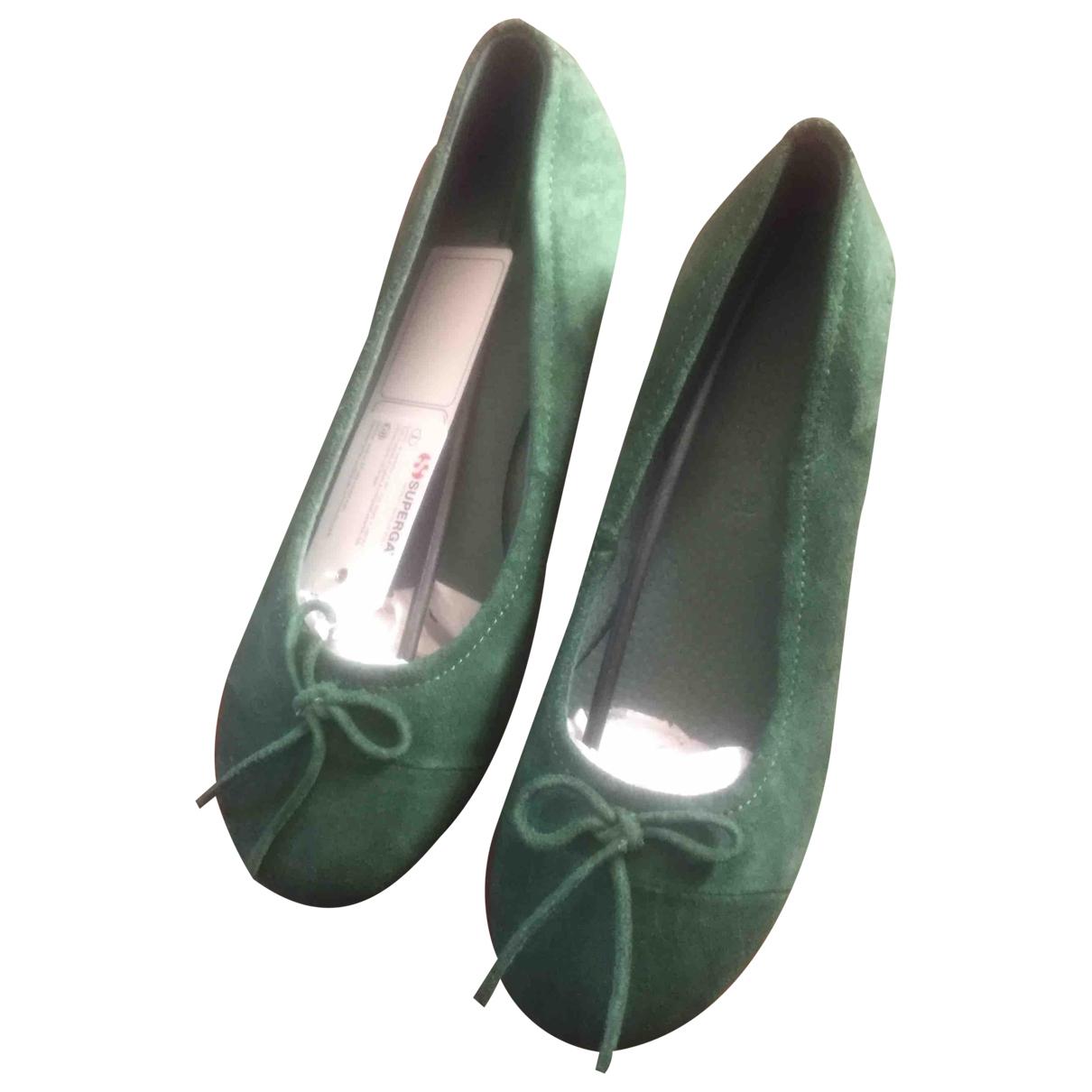 Superga - Ballerines   pour femme en cuir - vert