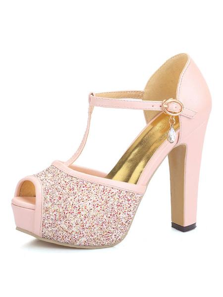 Milanoo Platform High Heel Sandals Womens Glitter T-strap Peep Toe Chunky Heel Sandals
