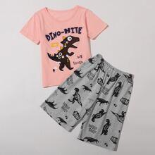 Kleinkind Jungen Schlafanzug Set mit Karikatur und Buchstaben Grafik