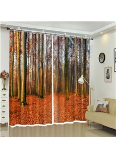 Red Leaves Ground Tall Trees Landscape Curtain for Living Room