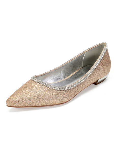 Milanoo Deep Blue Mother Shoes Glitter Pointed Toe Rhinestones Slip On Flat Wedding Guest Shoes