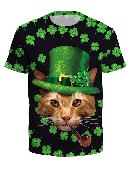 Milanoo T Shirt St Patricks Day Green 3D Print Cat Clover Unisex Irish Short Sleeve Top Halloween