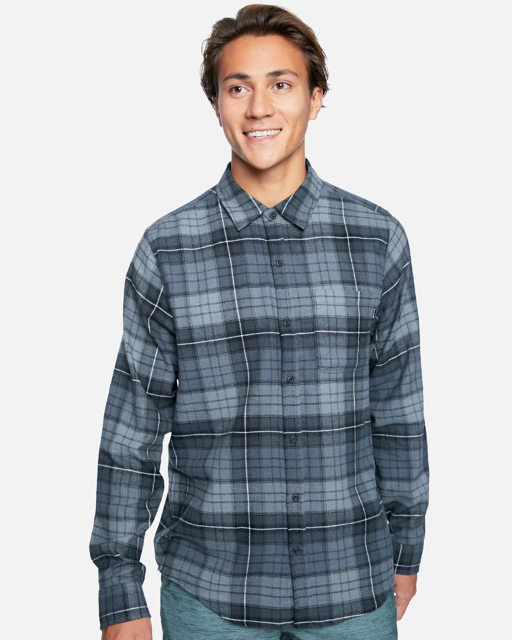 Mens Portland Flannel Long Sleeve T-Shirt in Dk Smoke Grey, Size Medium