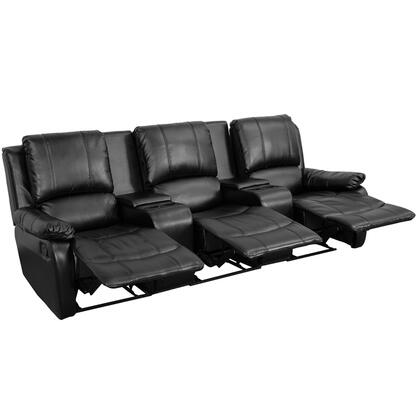 BT-70295-3-BK-GG Black Leather Pillowtop 3-Seat Home Theater Recliner with Storage