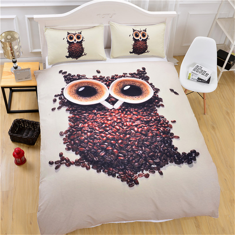 3D Owl Coffee Bean Printed Polyester 3-Piece Black Bedding Sets/Duvet Covers