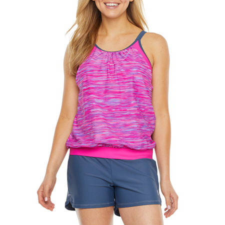 Free Country Striped Tankini Swimsuit Top, Large , Pink
