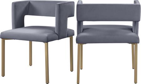 967GREY-C Caleb Grey Velvet Dining Chair (Set of