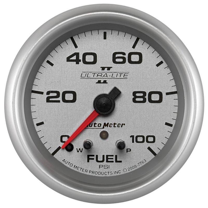 AutoMeter GAUGE; FUEL PRESS; 2 5/8in.; 100PSI; STEPPER MOTOR W/PEAK/WARN; ULTRA-LITE II