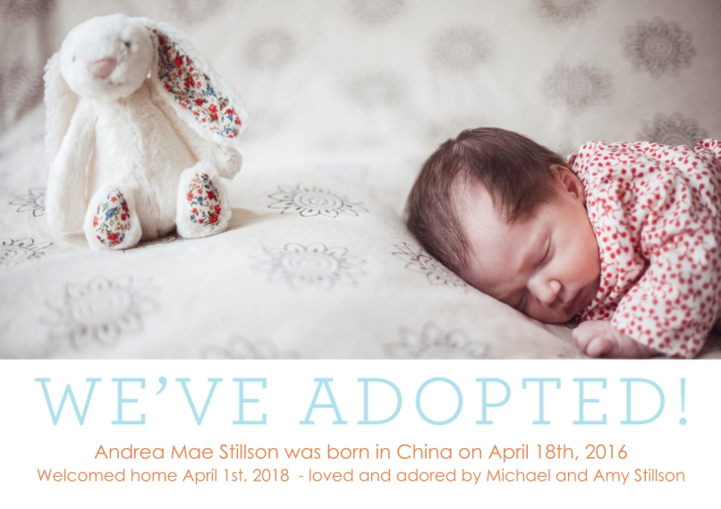 Adoption Announcements 5x7 Cards, Premium Cardstock 120lb with Scalloped Corners, Card & Stationery -Weve Adopted Blue