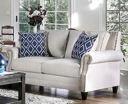 Giovanni SM2672-LV Loveseat with Nail Head Accents  Tapered Wooden Legs and Linen-Like Fabric in