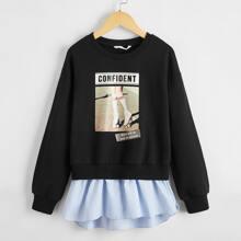 Pullover mit Figur und Buchstaben Grafik und Kontrast Streifen