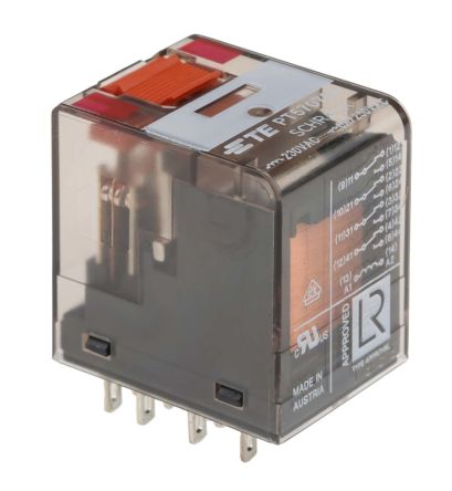 TE Connectivity , 230V ac Coil Non-Latching Relay 4PDT, 6A Switching Current PCB Mount, 4 Pole