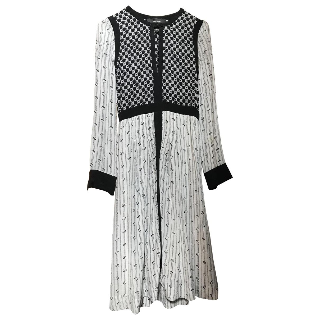Isabel Marant \N Kleid in  Weiss / Schwarz Seide