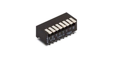 CTS 6 Way Through Hole DIP Switch Single Pole Single Throw (SPST), Side Actuator (30)