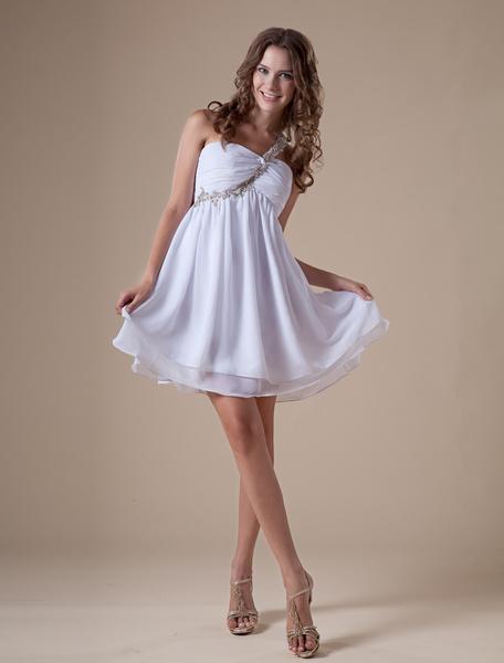 Milanoo Glamorous Short White One Shoulder Chiffon Womens Homecoming Dress