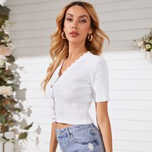 Scallop Trim Button Front Tee