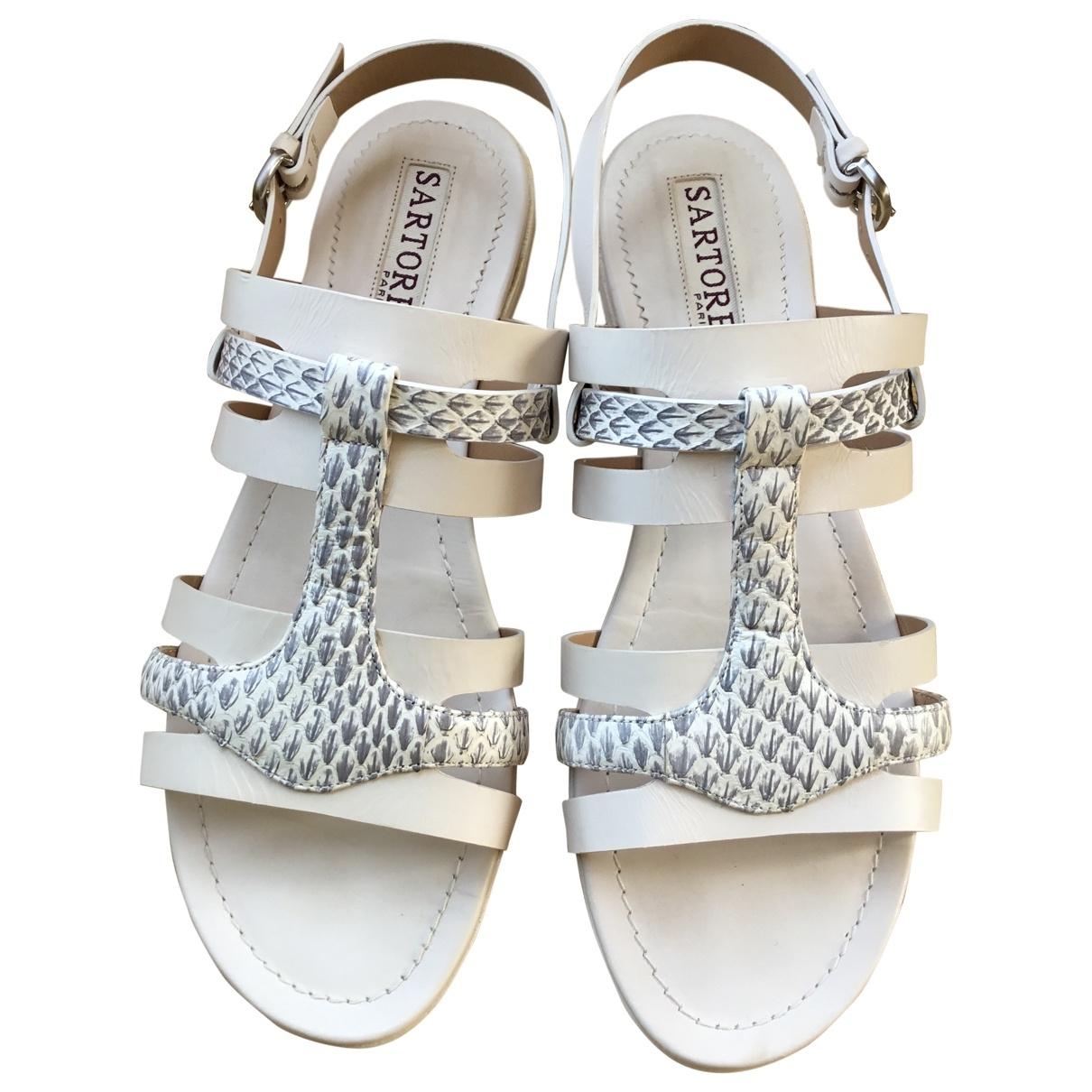 Sartore \N Beige Leather Sandals for Women 37 EU