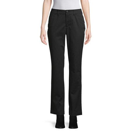 St. John's Bay Secretly Slender Womens Straight Flat Front Pant, 4 Petite , Black