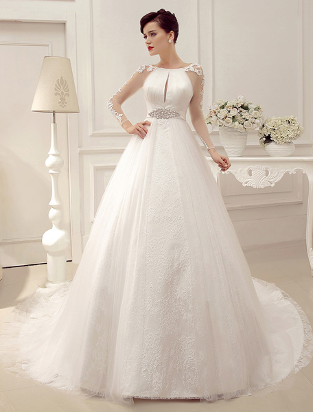 Milanoo Wedding Dresses Ball Gown Bridal Dress Long Sleeve Lace Applique Beaded Rhinestones Sash Illusion Cutout Wedding Gown With Train