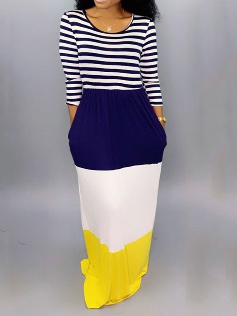 Ericdress Patchwork Floor-Length Pocket Striped Color Block Dress