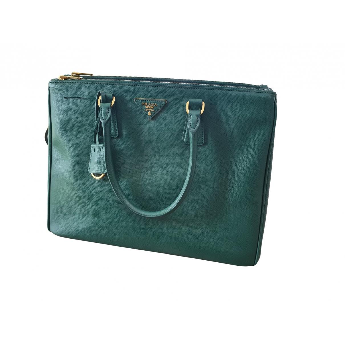 Prada - Sac a main Galleria pour femme en cuir - vert