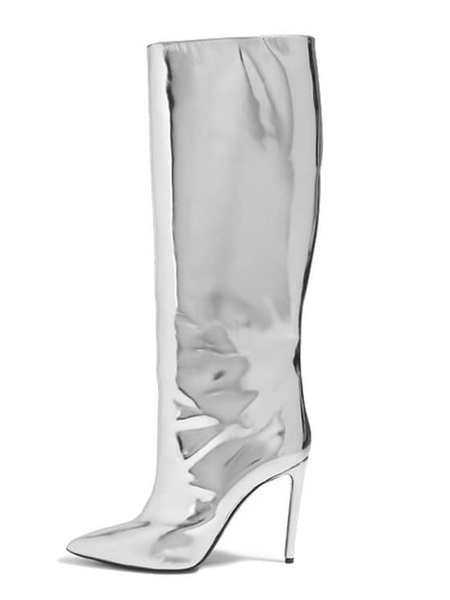Milanoo Silver Knee High Boots Womens PU Pointed Toe Stiletto Heel Boots
