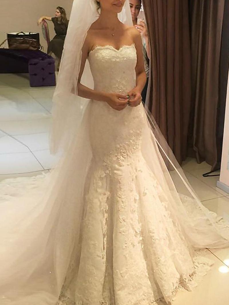 Ericdress Mermaid Appliques Hall Wedding Dress