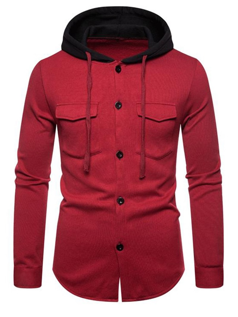 Ericdress Cardigan Button Color Block Loose Mens Single-Breasted Hoodies
