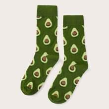 Maenner Wadenlaenge Socken mit Avocado Muster