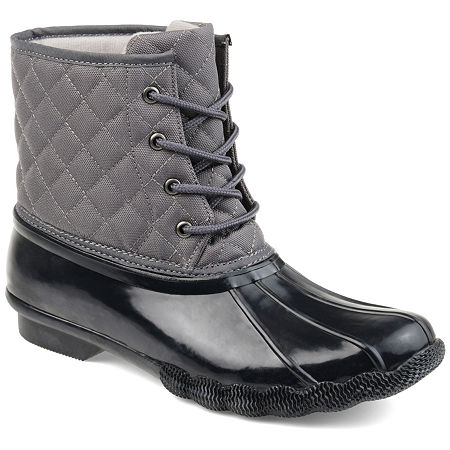 Journee Collection Womens Chill Water Resistant Snow Block Heel Lace-up Boots, 5 1/2 Medium, Gray