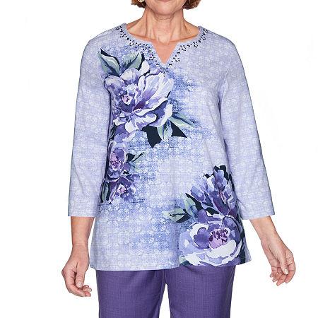 Alfred Dunner Wisteria Lane-Womens Split Crew Neck 3/4 Sleeve T-Shirt, Petite X-large , Purple