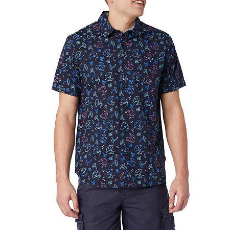 Unionbay Mens Short Sleeve Button-Down Shirt, Medium , Blue