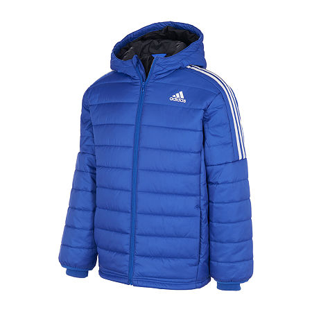 adidas Little & Big Boys Midweight Puffer Jacket, X-large , Blue