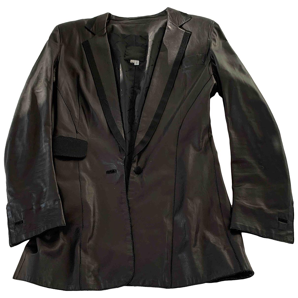 Costume National - Veste   pour femme en cuir - noir