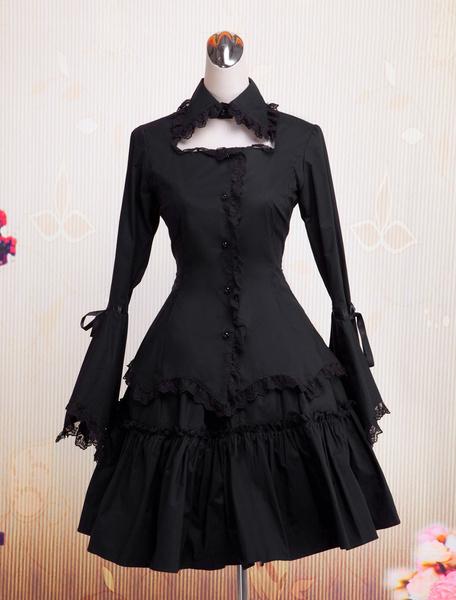 Milanoo Algodon Negro Lolita OP Vestido con Encaje Larga Hime Mangas