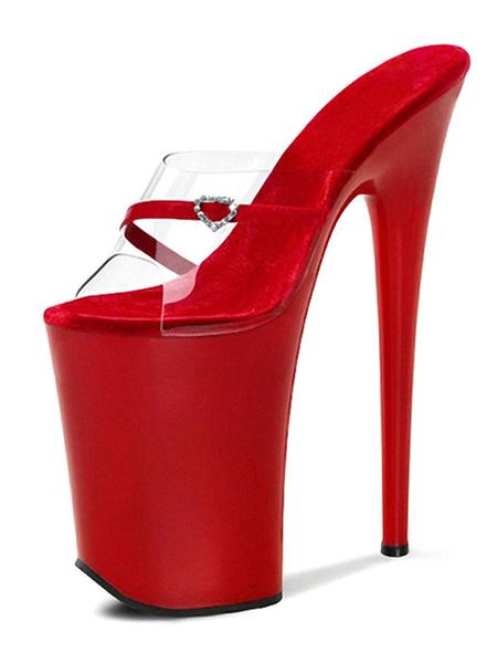 Milanoo Sandalias sexy para mujer Zapatos rojos de cuero de la PU Peep Toe 9.1 '' Zapatos sexy
