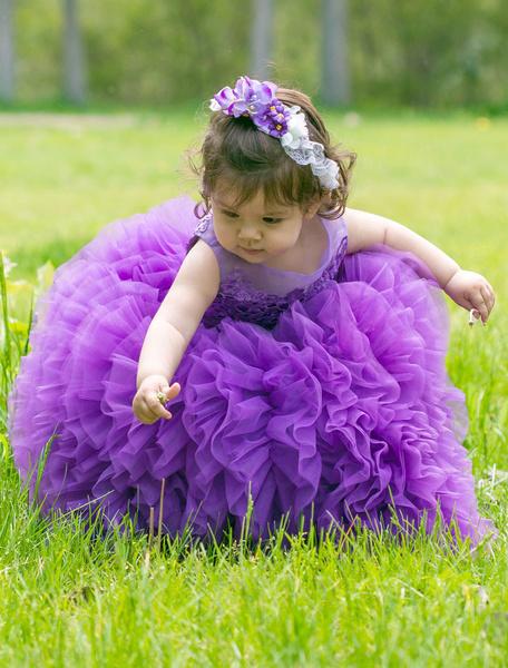 Milanoo Lavender Toddler Dress Flower Girl Tutu Dress Ankle-length Ball Gown Prince Pageant Dress