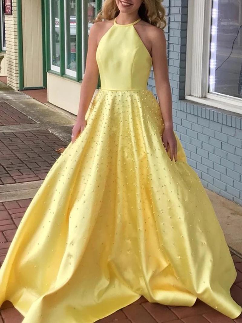 Ericdress Halter A-Line Pearls Daffodil Prom Dress
