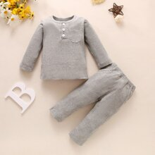 Toddler Boys Solid Rib-knit Buttoned Tee With Pants
