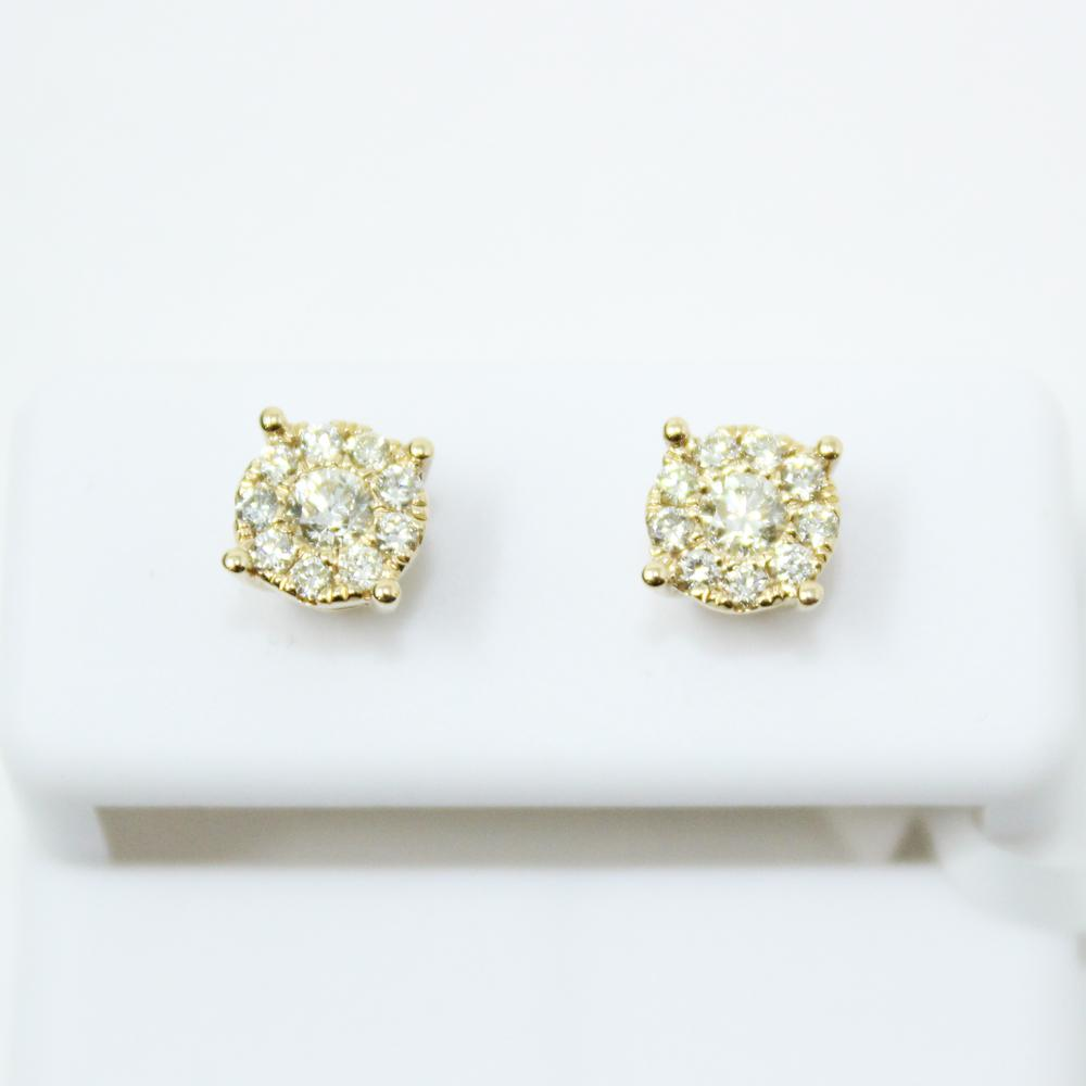 Centerstone Cluster .45cttw Diamond 14K Yellow Gold Earrings