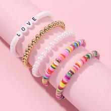 5 Stuecke Maedchen Armband mit bunten Perlen Dekor